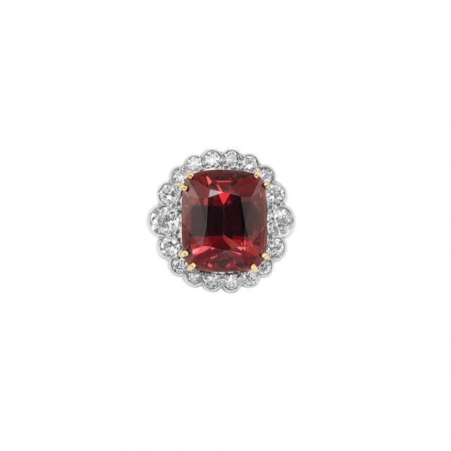Orangy Red Spinel and Diamond Ring