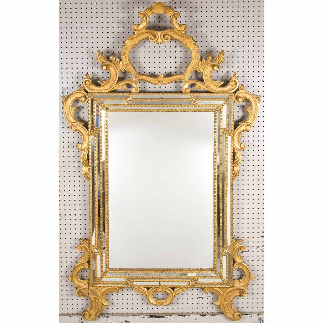 Transitional Louis XV/XVI Style Gilt-Wood Mirror Framed Mirror