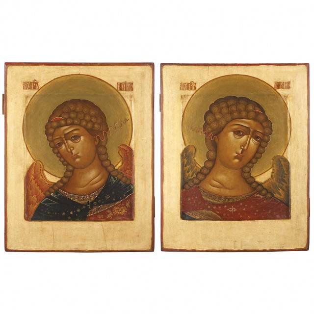 Pair of Russian Polychrome Decorated Icons
