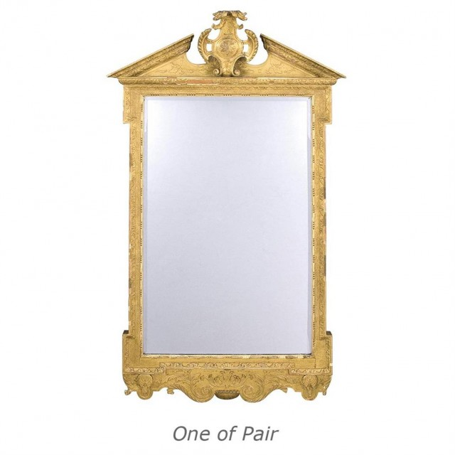 Pair of George II Style Gilt-Wood and Gesso Mirrors