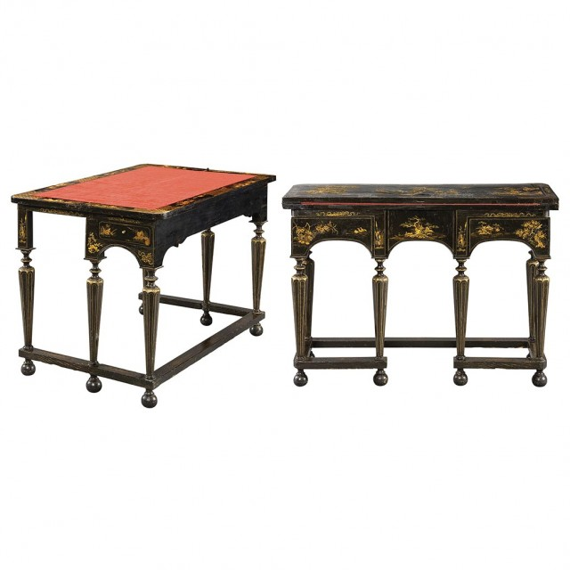 Pair of William and Mary Japanned Writing Tables