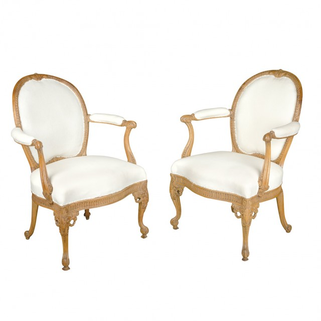 Pair of George III Limewood Armchairs