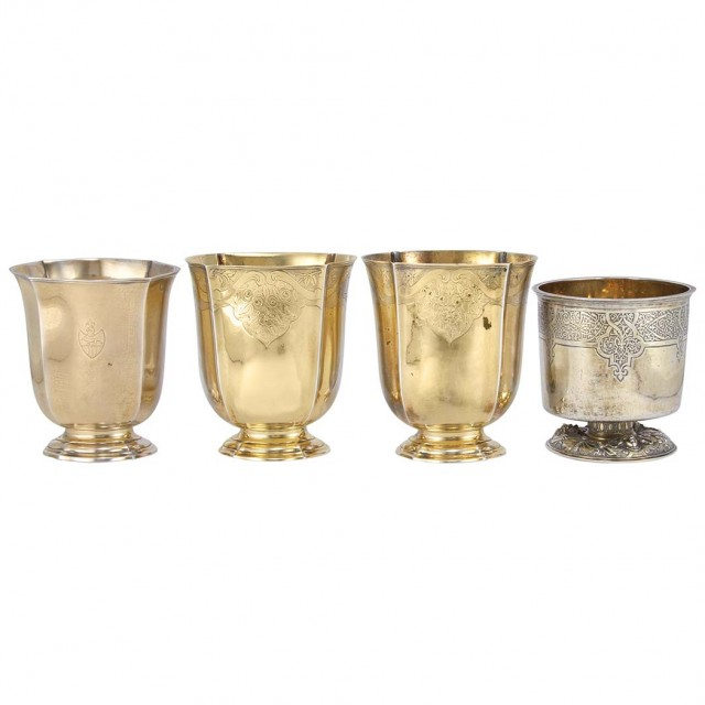 Group of Four Franco-German Silver Gilt Beakers