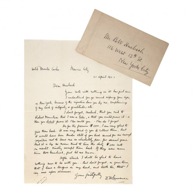 LAWRENCE, D.H. Autograph letter signed to publisher B.W. Huebsch