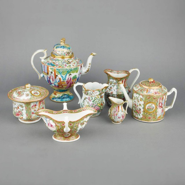 Group of Canton Rose Medallion and Famille Rose Porcelain Tea and Table...
