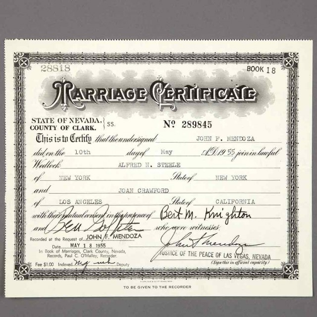 Crawford Joan Marriage Certificate For Crawfords Marriage To