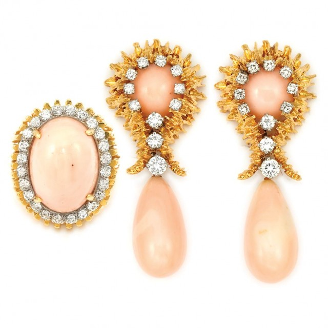 Gold, Angel Skin Coral and Diamond Pendant-Earclips and Ring