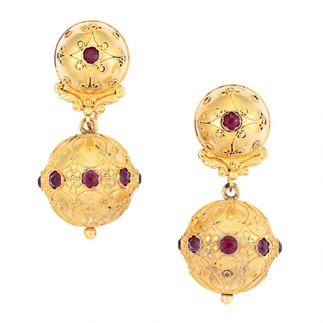 Pair of Etruscan Revival Antique Gold and Garnet Pendant-Earrings