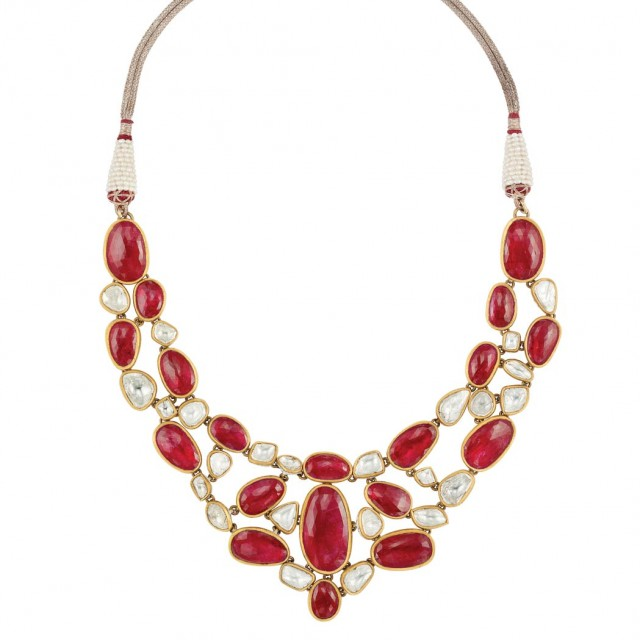 Indian Gold, Enamel, Foiled-Back Ruby, Diamond and Freshwater Pearl Necklace