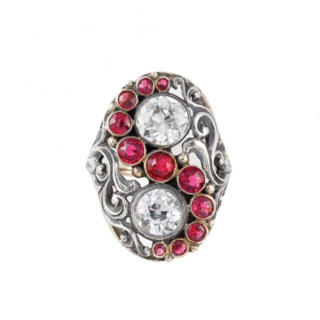 Antique Silver, Gold, Diamond and Simulated Ruby Ring