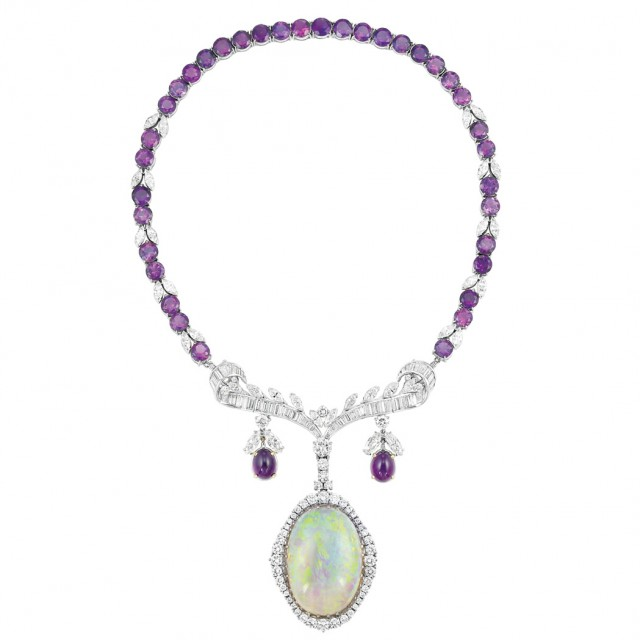 White Gold, Amethyst, Diamond and Opal Pendant-Necklace