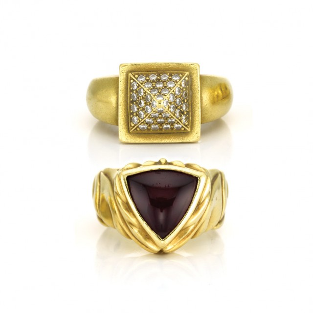Two Gold, Diamond and Cabochon Garnet Rings