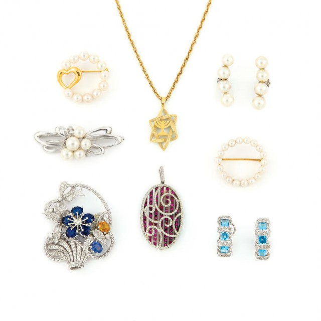 Group of Two-Color Gold, Diamond, Gem-Set and Cultured Pearl Jewelry