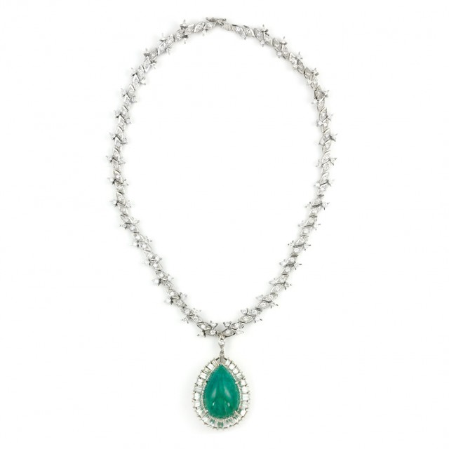 White Gold and Diamond Necklace with Platinum, Cabochon Emerald and Diamond Pendant