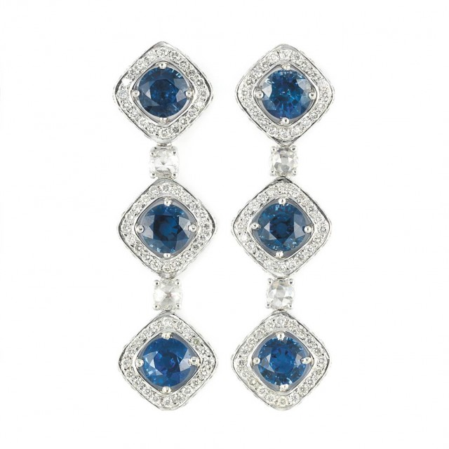 Pair of White Gold, Sapphire and Diamond Pendant-Earrings