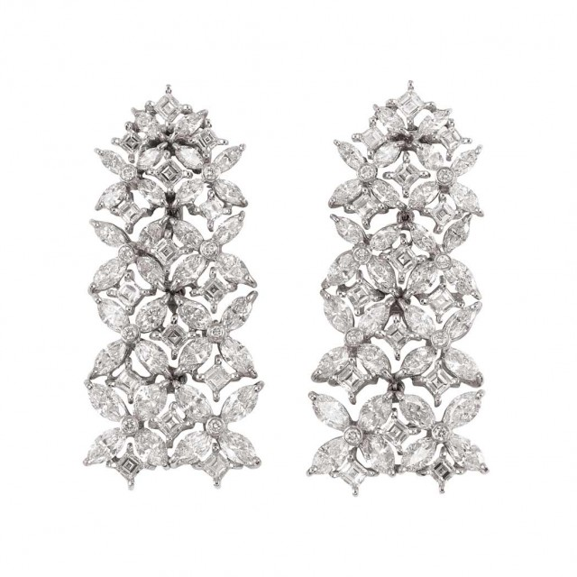 Pair of Platinum and Diamond Pendant-Earclips