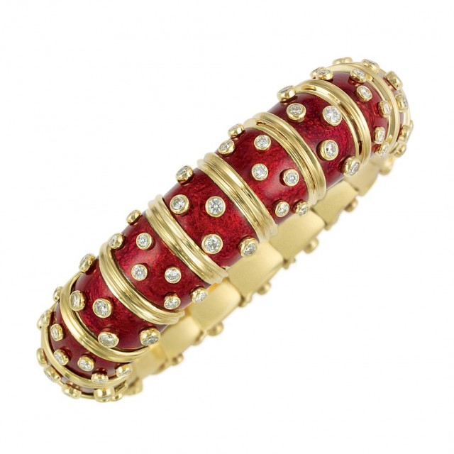 Gold, Red Paillonne Enamel and Diamond Bangle Bracelet, Tiffany and Co, Schlumberger