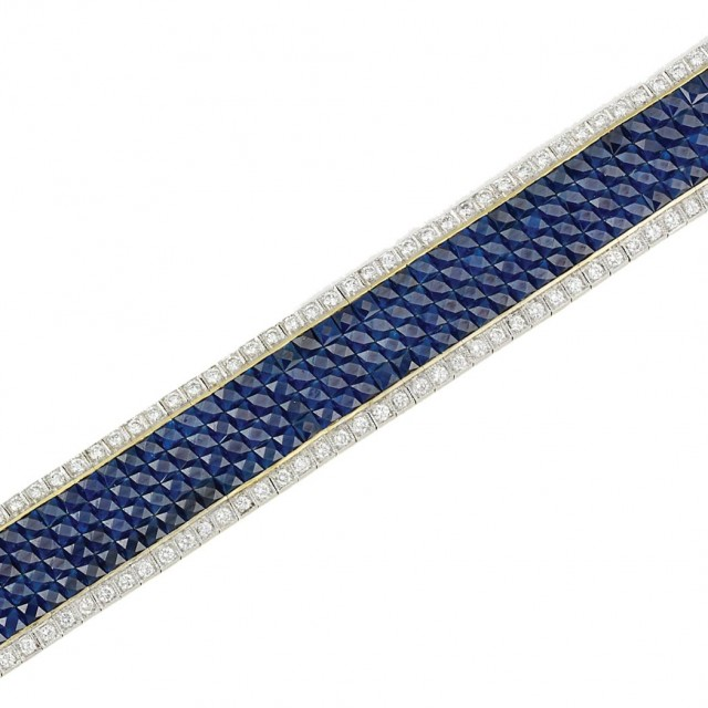 Gold, Invisibly-Set Sapphire and Diamond Bracelet
