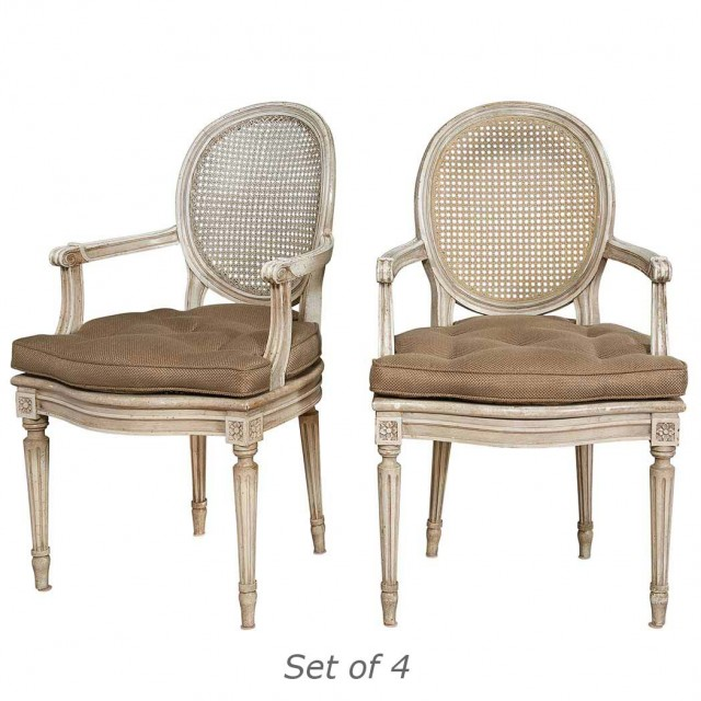 Set of Four Louis XVI Style Painted and Caned Fauteuils