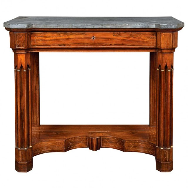 Charles X Inlaid Rosewood Pier Table