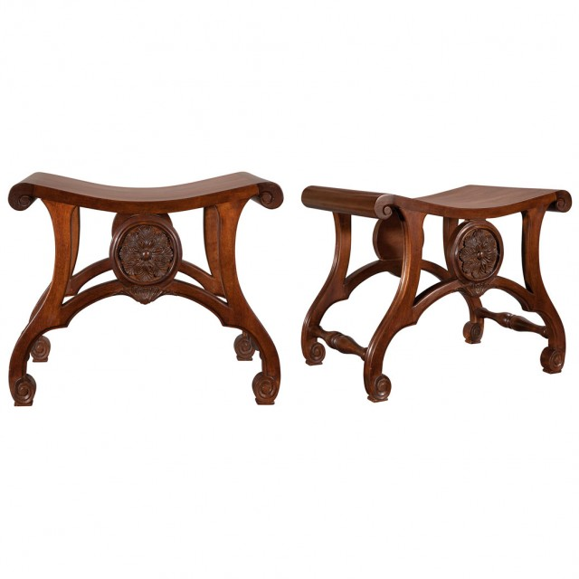 Pair of George III Style Carved Mahogany Hall Stools