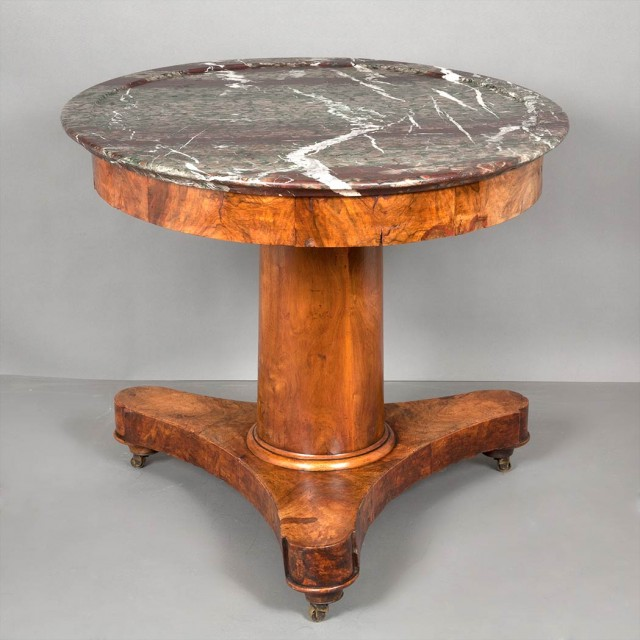Restauration Marble Top Walnut Center Table