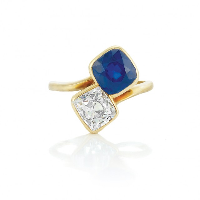Antique Gold, Sapphire and Diamond Crossover Ring