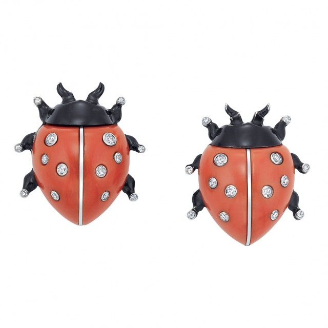 Pair of White Gold, Platinum, Coral, Diamond and Black Enamel Ladybug Clips, Cartier