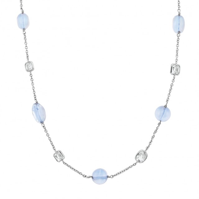 Long White Gold, Moonstone Bead and Diamond Chain Necklace