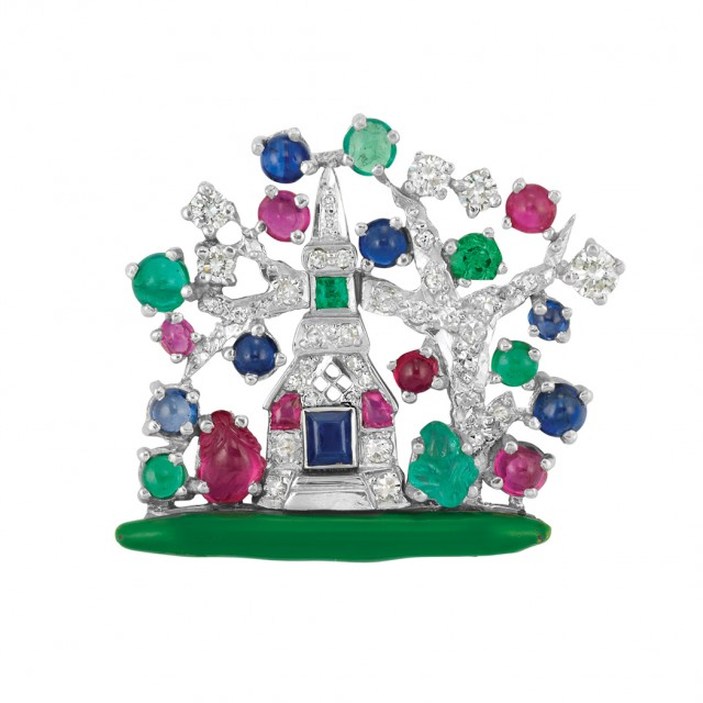 Platinum, Diamond, Gem-Set and Green Enamel Pin, Yard
