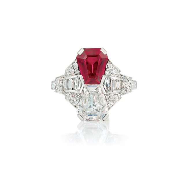 Art Deco Platinum, Ruby and Diamond Ring