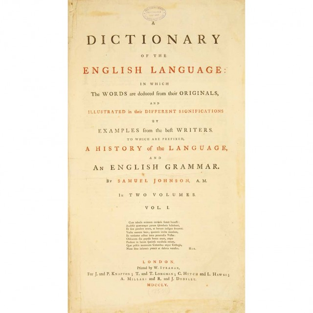 JOHNSON, SAMUEL  A Dictionary of the English Language