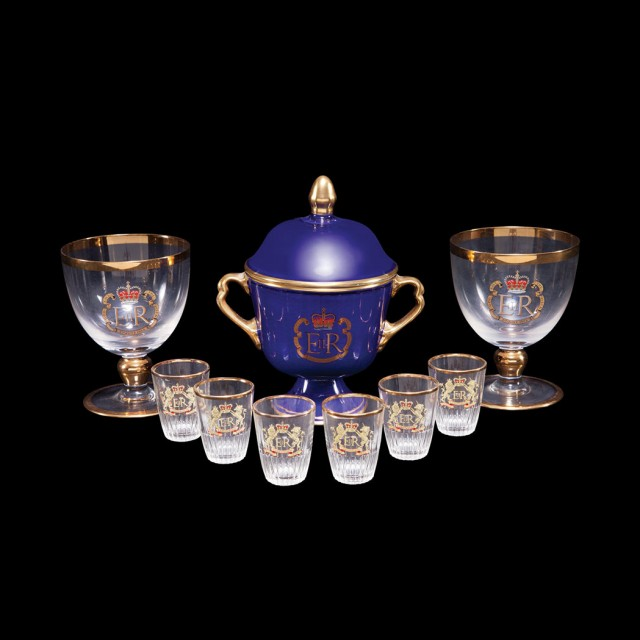 Set of Eight Queen Elizabeth II Commemorative Glass Articles; Together with...