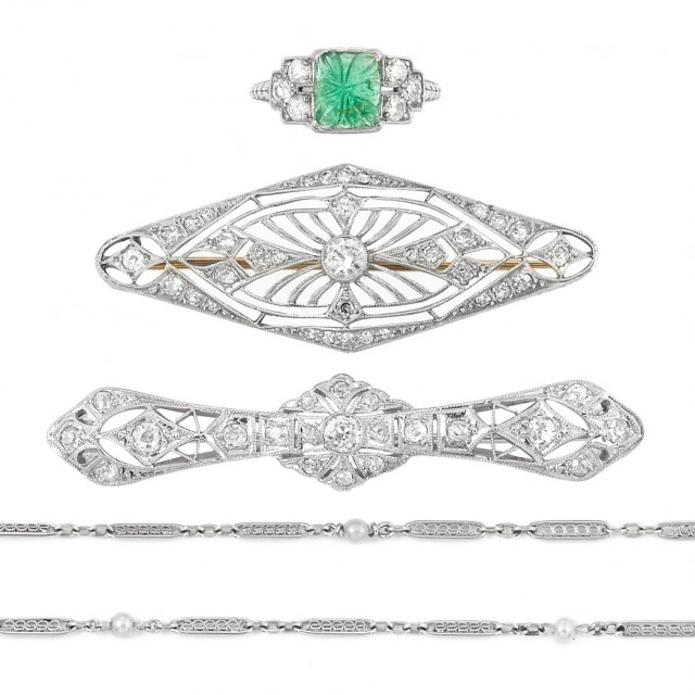 Group of Period Platinum, Diamond, Carved Emerald and Pearl Jewelry