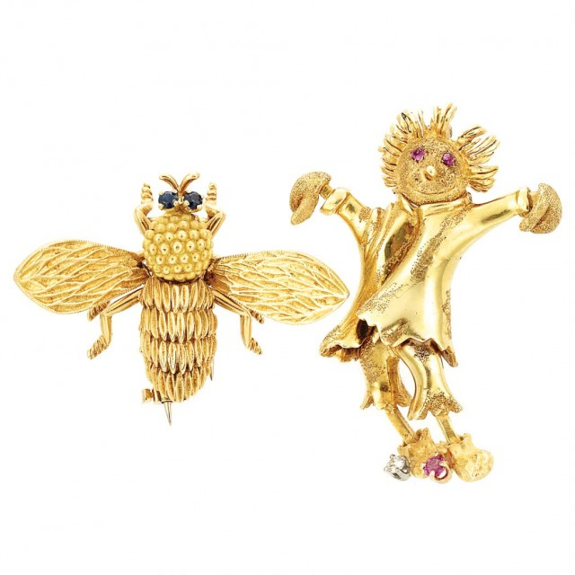 Two Gold, Diamond and Gem-Set Pins