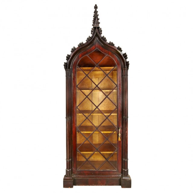 American Gothic Revival Carved Rosewood Curio Cabinet