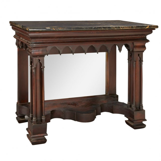 American Gothic Revival Carved Mahogany Pier Table