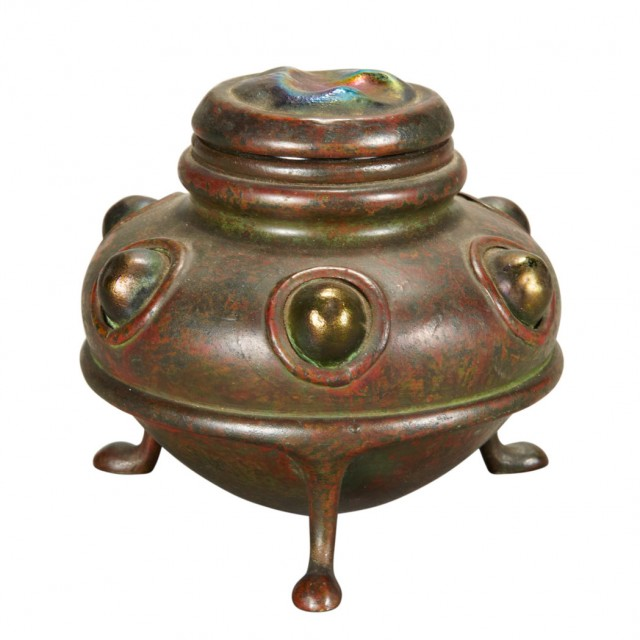Tiffany Studios Bronze and Favrile Glass Turtle Back Inkwell