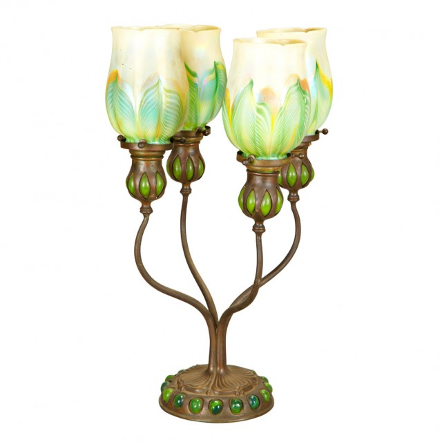 Tiffany Studios Bronze and Favrile Glass Four-Light Blow-Out Candelabrum