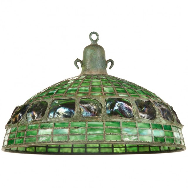 Unsigned Tiffany Studios Bronze and Leaded Favrile Glass Turtle Back and Geometric Hanging Shade