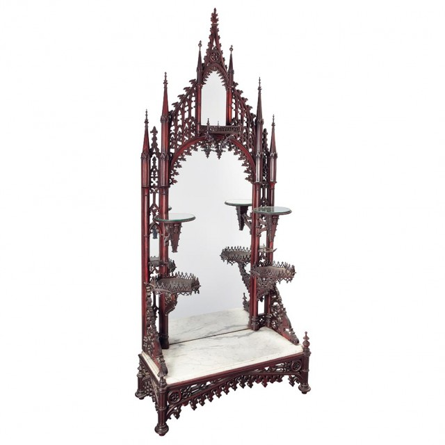 American Gothic Revival Carved Rosewood Mirror Backed Etagere