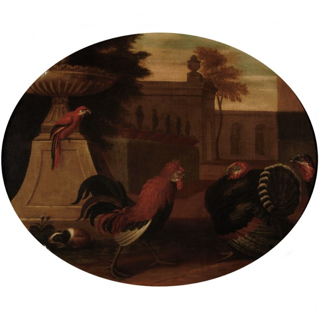 Follower of Melchior de Hondecoeter Rooster Confronting Turkeys, with a Macaw and Guinea Pig in a Classical Landscape...
