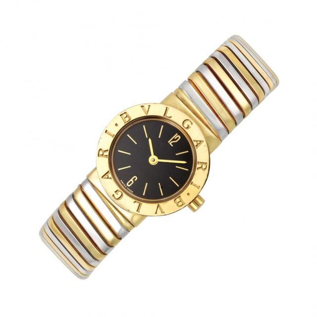 Two-Color Gold Bangle-Watch, Bulgari