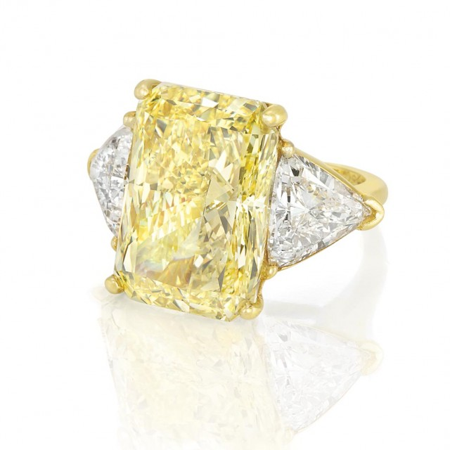 Gold, Fancy Intense Yellow Diamond and Diamond Ring