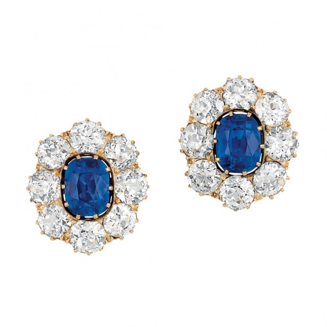 Pair of Antique Gold, Kashmir Sapphire and Diamond Earrings