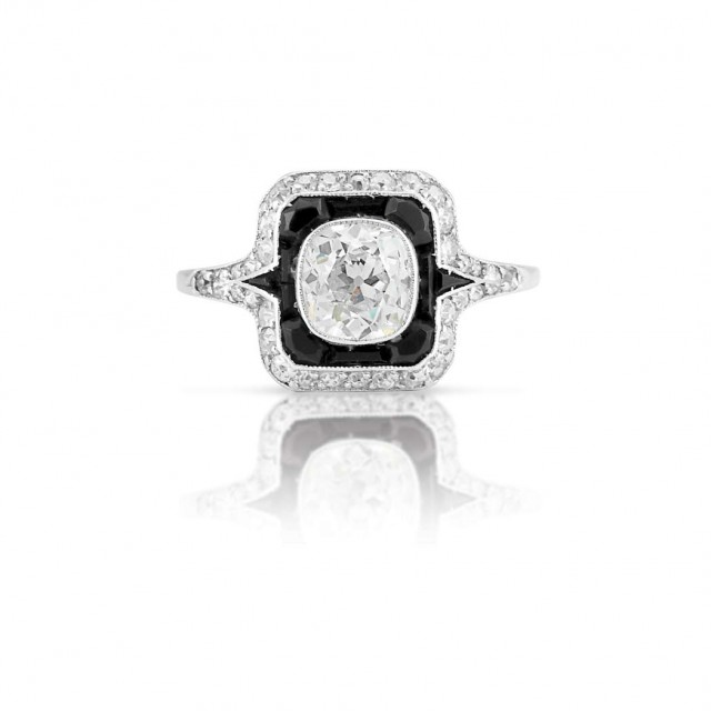 Art Deco Platinum Diamond And Black Onyx Ring For Sale At