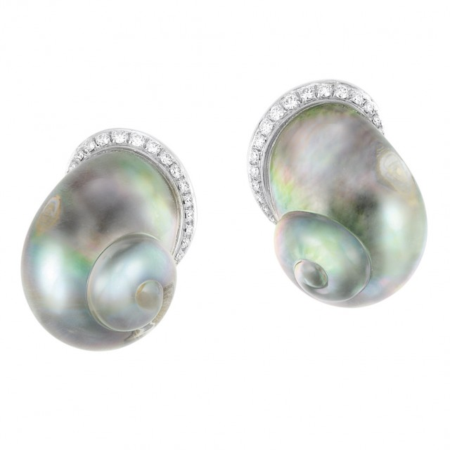Pair of Gold, Carved Rock Crystal, Gray Mother-of-Pearl and Diamond Shell Earclips, Vhernier