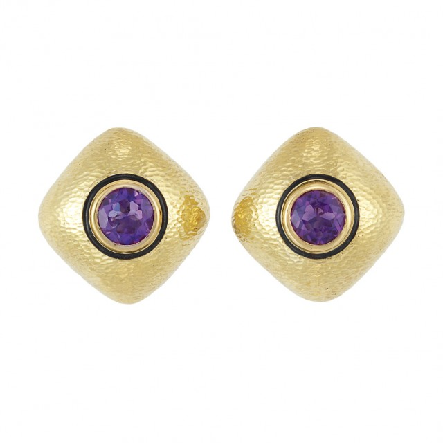 Pair of Hammered Gold, Amethyst and Black Enamel Earclips, David Webb