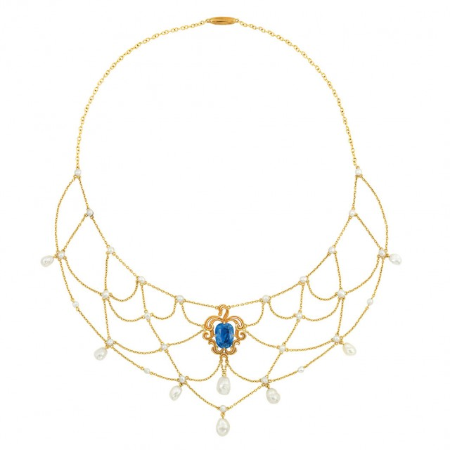 Antique Gold, Sapphire and Freshwater Pearl Swag Necklace