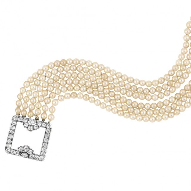 Six Strand Cultured Pearl Bracelet with Art Deco Platinum and Diamond Clasp